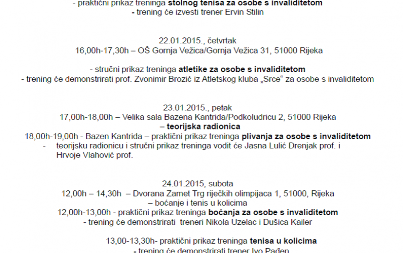 Raspored događanja